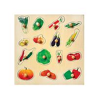 Sebzeler Puzzle Tutamaklı Ahşap